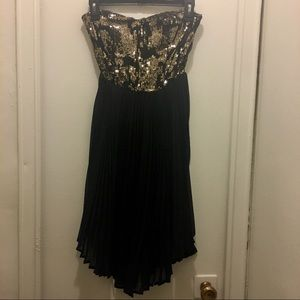 Black Gold Strapless Sequined Dress Pleated Skirt